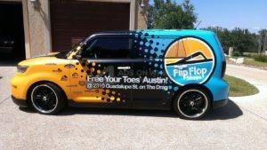 Car Wrap Graphics Wraps Sedan Franchise Flip Flop Shops Scion BM