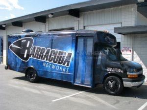 Shuttle Bus Wrap Graphics Barracuda
