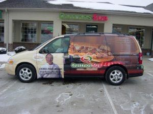 Van Wrap Graphics Quiznos Franchise QUI