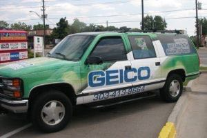 Vehicle Wraps Graphics Vinyl Fleet Large Format Car Suv Chevy Chevrolet Suburban Insurance Geico Gec Driver